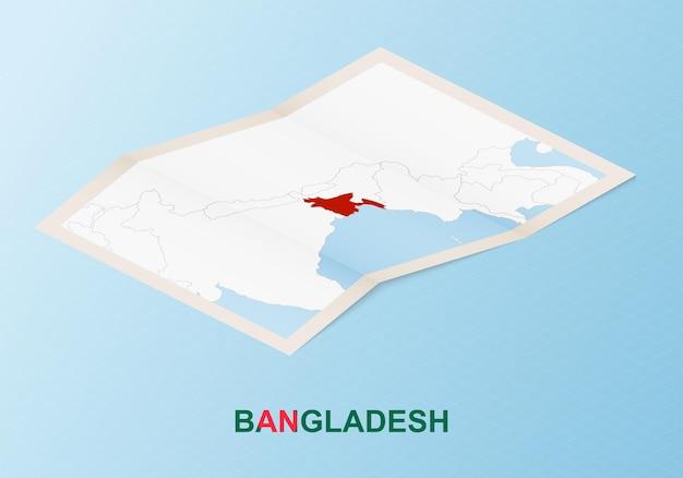 아이소메트릭 스타일의 이웃 국가와 방글라데시의 접힌 종이 지도.