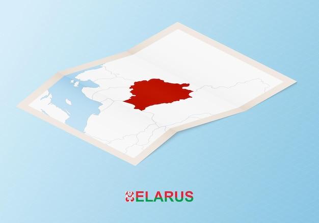 等角図で隣国とベラルーシの折り畳まれた紙の地図。