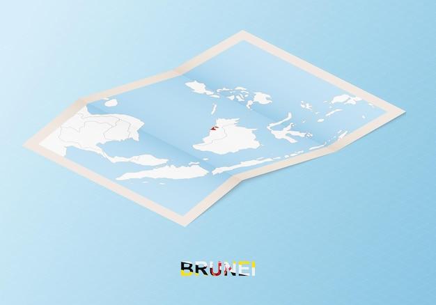 아이소메트릭 스타일의 이웃 국가와 브루나이의 접힌 종이 지도.