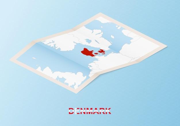 아이소메트릭 스타일의 이웃 국가와 덴마크의 접힌 종이 지도.