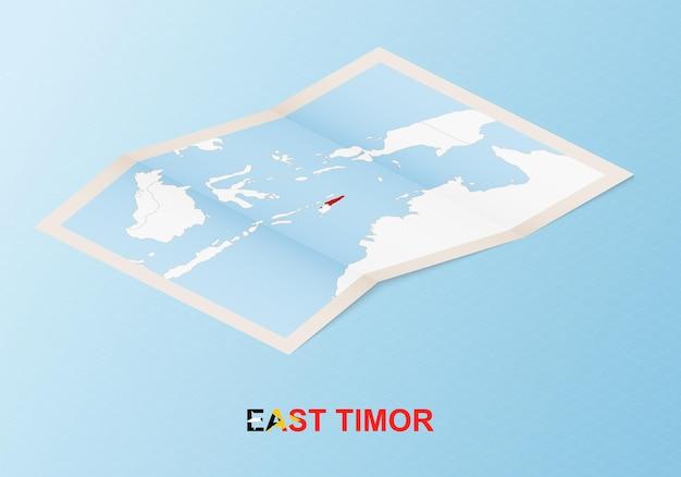 아이소메트릭 스타일의 이웃 국가와 동티모르의 접힌 종이 지도.
