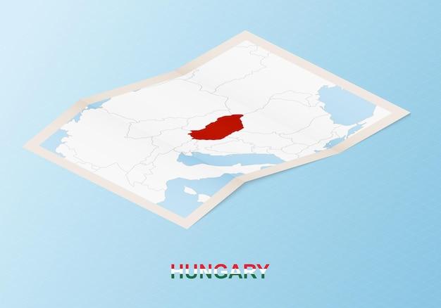 ハンガリーと近隣諸国の等角投影図を折りたたんだ紙の地図。