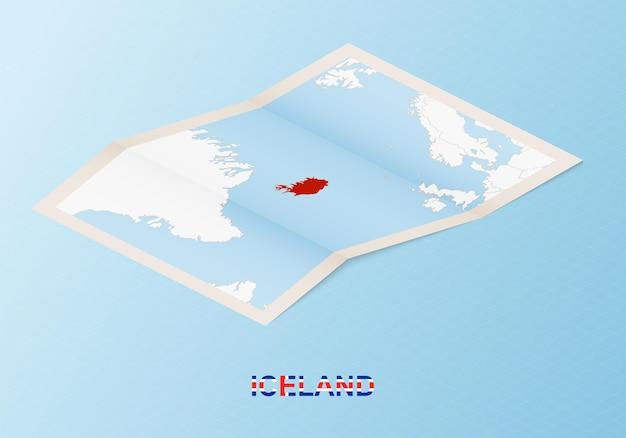 아이소메트릭 스타일의 이웃 국가와 아이슬란드의 접힌 종이 지도.