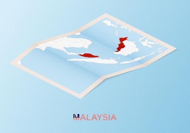 Сложенная бумажная карта малайзии с соседними странами в изометрическом стиле.