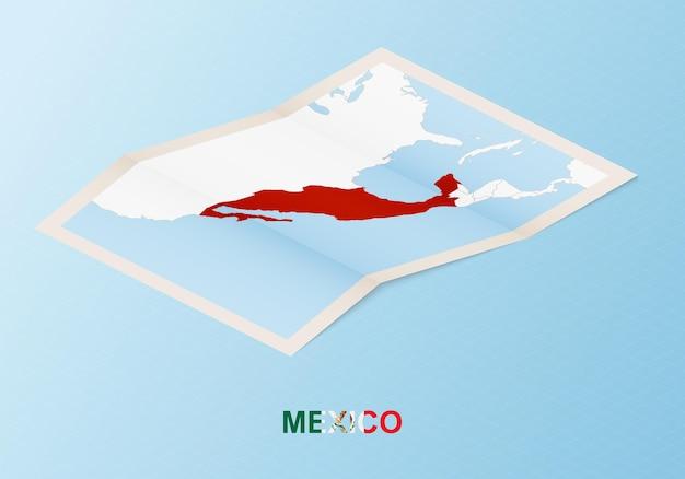 Сложенная бумажная карта мексики с соседними странами в изометрическом стиле.