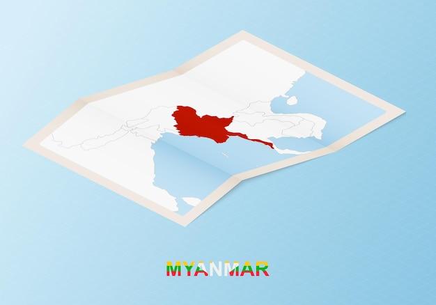 아이소메트릭 스타일의 이웃 국가와 미얀마의 접힌 종이 지도.