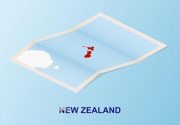 Сложенная бумажная карта новой зеландии с соседними странами в изометрическом стиле.