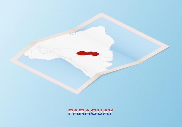 Сложенная бумажная карта парагвая с соседними странами в изометрическом стиле.
