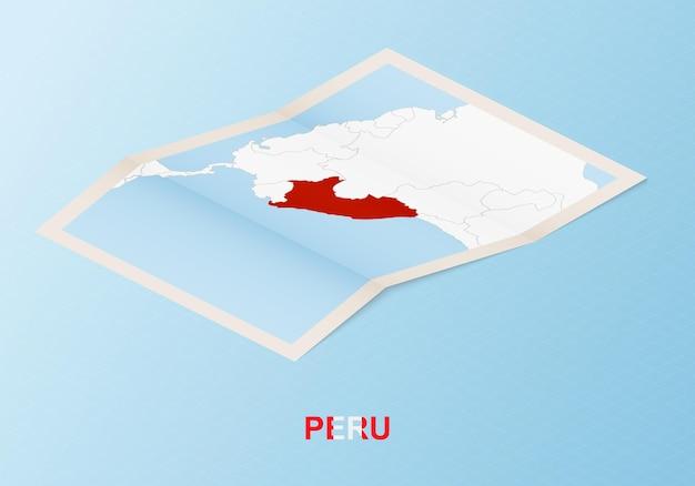 Сложенная бумажная карта перу с соседними странами в изометрическом стиле.