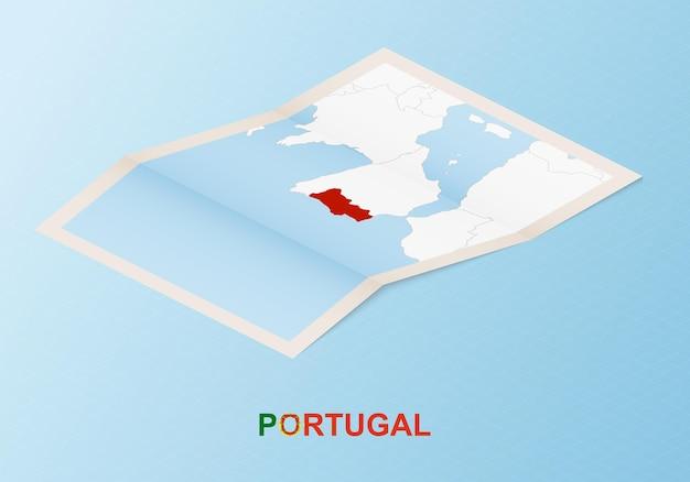 Сложенная бумажная карта португалии с соседними странами в изометрическом стиле.