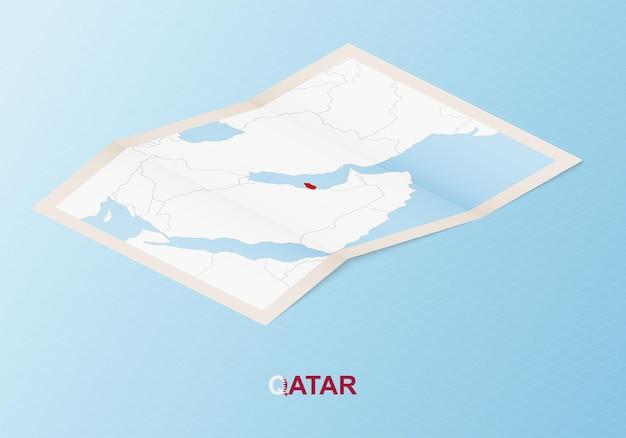 Сложенная бумажная карта катара с соседними странами в изометрическом стиле.