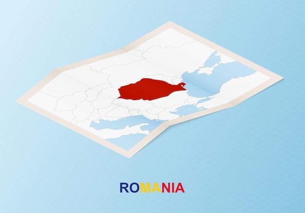 アイソメトリックスタイルで近隣諸国とルーマニアの折り畳まれた紙の地図。