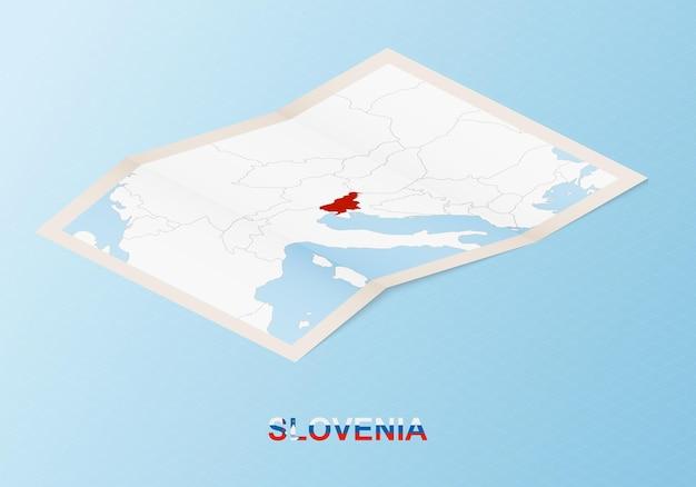 等角投影スタイルで近隣諸国とスロベニアの折り畳まれた紙の地図。