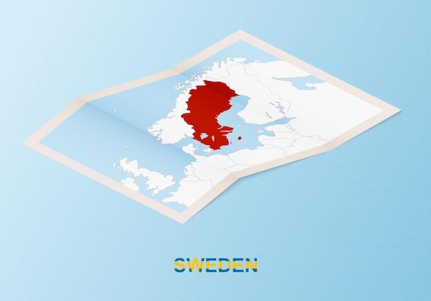 Сложенная бумажная карта швеции с соседними странами в изометрическом стиле.