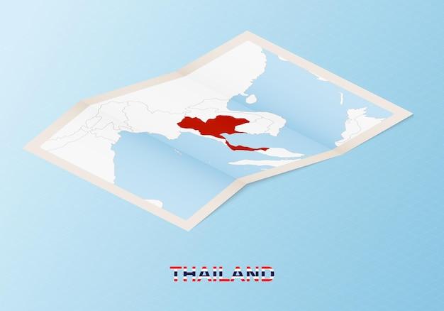 아이소메트릭 스타일의 이웃 국가와 태국의 접힌 종이 지도.