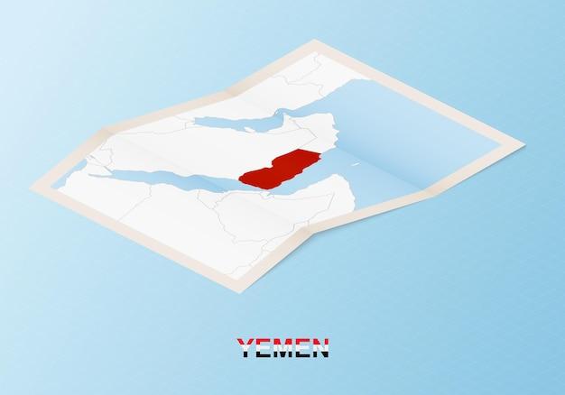 Сложенная бумажная карта йемена с соседними странами в изометрическом стиле.