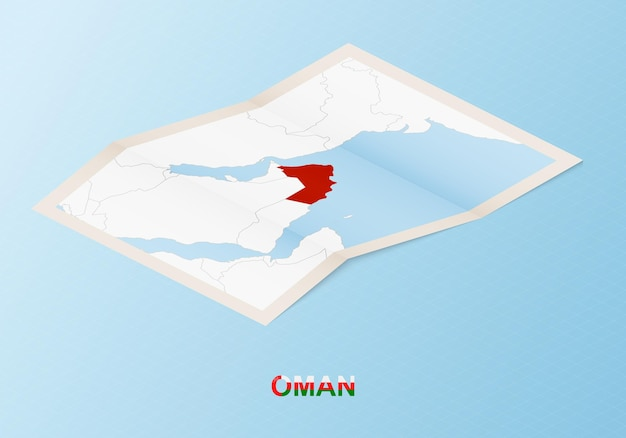 Folded paper map of oman with neighboring countries in isometric style.