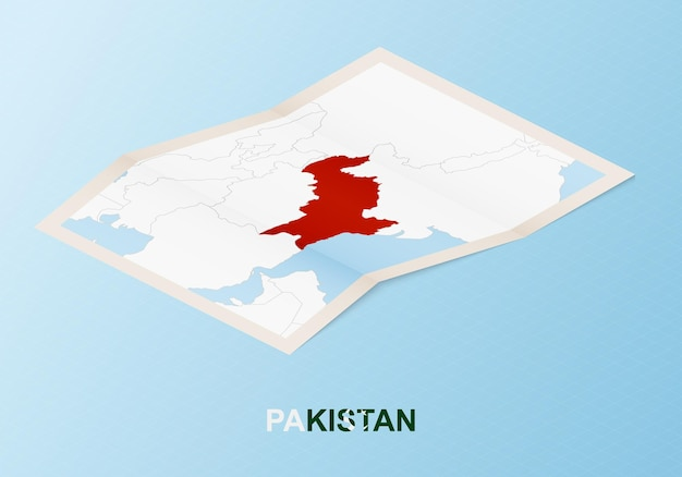 Folded paper map of pakistan with neighboring countries in isometric style.