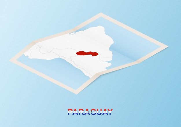 Folded paper map of paraguay with neighboring countries in isometric style.