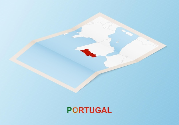 Folded paper map of portugal with neighboring countries in isometric style.