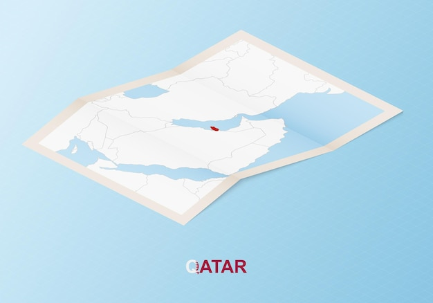 Folded paper map of qatar with neighboring countries in isometric style.