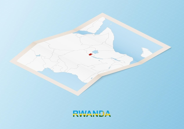 Folded paper map of rwanda with neighboring countries in isometric style.