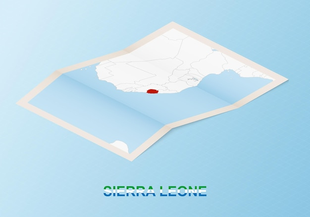 Folded paper map of sierra leone with neighboring countries in isometric style.