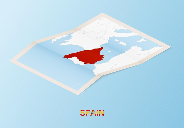 Folded paper map of spain with neighboring countries in isometric style.