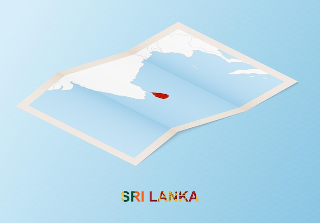 Folded paper map of sri lanka with neighboring countries in isometric style.