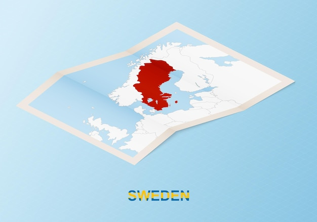 Folded paper map of sweden with neighboring countries in isometric style.