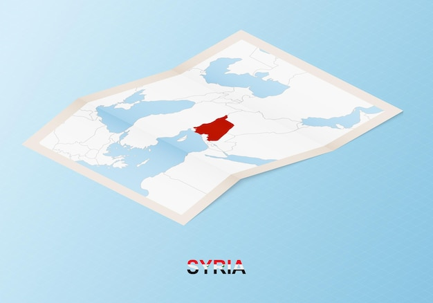 Folded paper map of syria with neighboring countries in isometric style.