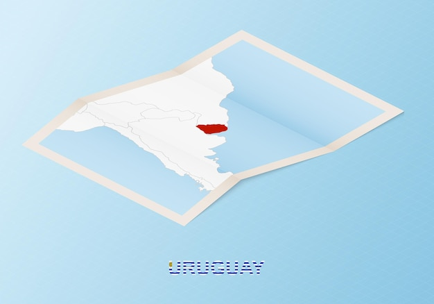 Folded paper map of uruguay with neighboring countries in isometric style.