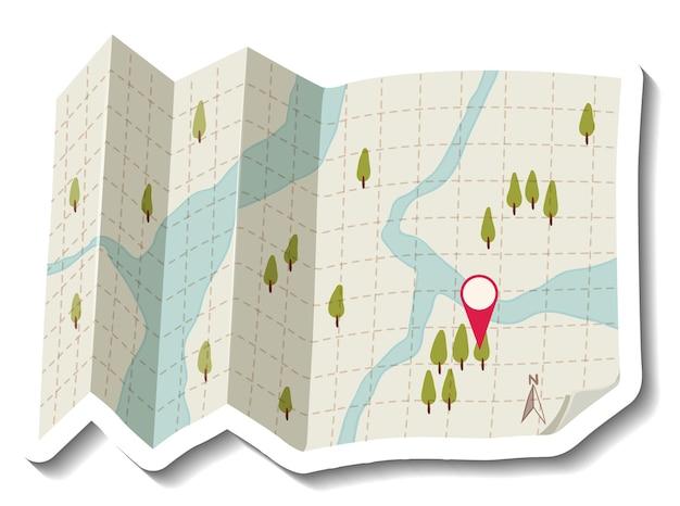 赤いピンで折りたたまれた紙の地図