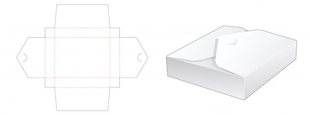 접힌 직사각형 상자 다이 컷 템플릿