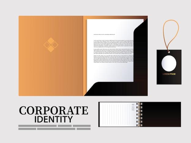 ブランドアイデンティティイラストデザインの要素のフォルダーと吊り下げタグ