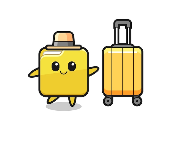 休暇中の荷物とフォルダー漫画イラスト、tシャツ、ステッカー、ロゴ要素のかわいいスタイルのデザイン