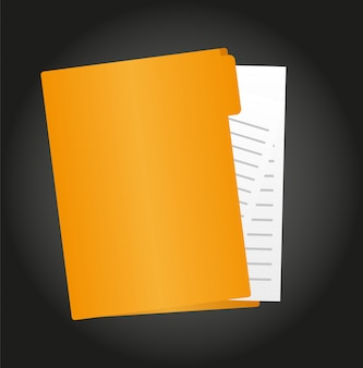 Folder cartoon with paper isolated over black background vector