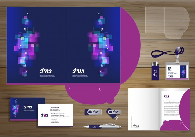 Folder corporate identity design digital business stationery