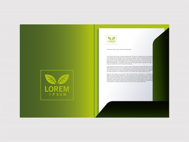 Folder, corporate identity template on white