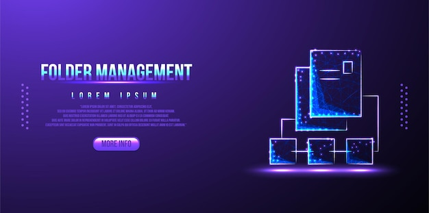 Folder, data management low poly wireframe
