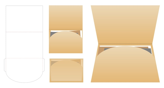 Folder die cut mock up template vector