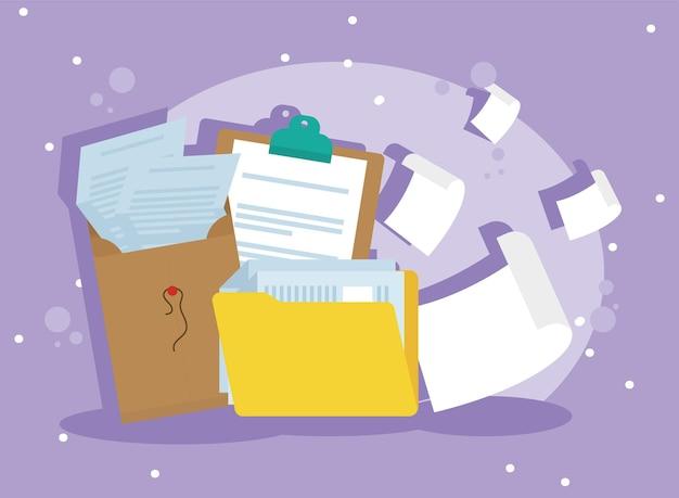 Folder and envelope paperwork icons