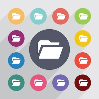 Folder, flat icons set. round colourful buttons. vector