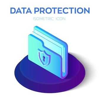 Folder icon. 3d isometric locked folder sign. data protection concept.