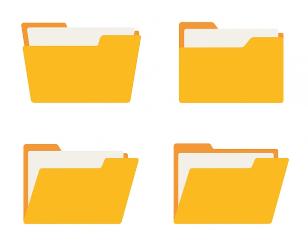 Folder icon set. flat style.