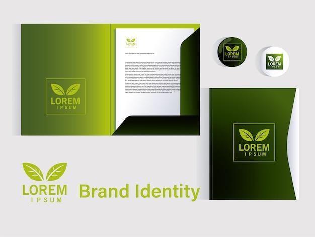 企業イラストデザインのブランドアイデンティティの要素のプレゼンテーションのフォルダー
