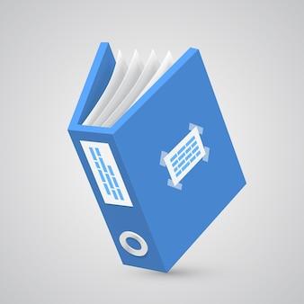 Папка бумажная синяя арт-объект. векторная иллюстрация