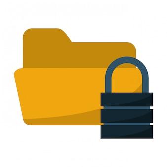Folder with padlock security system