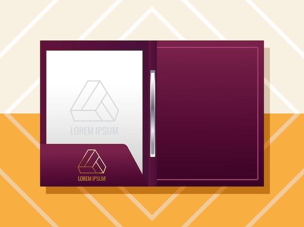 Folder with triangle emblem  branding  illustration