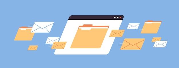 폴더 메일 봉투 클라우드 인터넷 데이터 파일 아이콘 문서 브라우저 창 가로 벡터 일러스트 레이션
